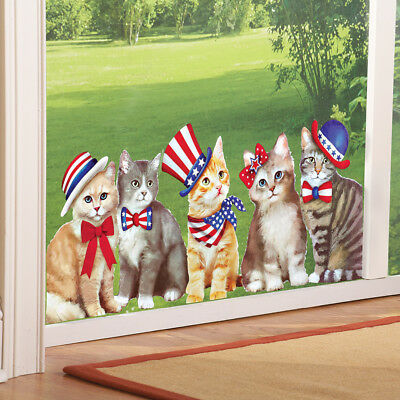 4th of July Patriotic Kitty Cats Window Cling Decorations