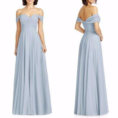 2844 DESSY Collection Mist BLUE Chiffon OFF THE SHOULDER BRIDESMAID Dress GOWN 6