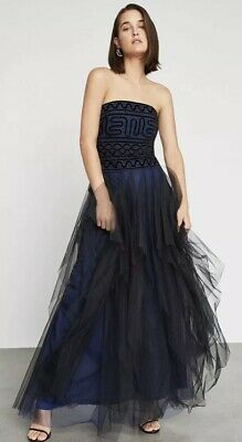 BCBG MAXAZRIA Strapless Embroidered Lace Gown Tulle Long Blue Prom Dress 498
