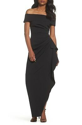 NEW VINCE CAMUTO Black Cascade Ruffle Pleated Off Shoulder Stretch Crepe Gown 14
