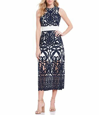 FOXIEDOX White Navy Blue Rosabel Ornate Embroidered Scalloped Lace Midi Dress L