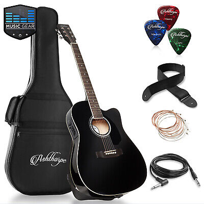 Full-Size Cutaway Thinline Acoustic-Electric Guitar with Gig Bag - EQ