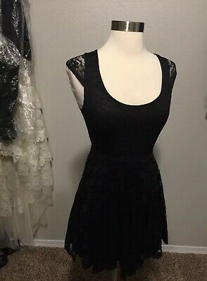 Wet Seal Womens Black Lace Skater Dress Size Small