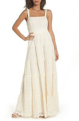 NEW ELIZA J Ivory White Crochet Floral Lace Tiered Cotton Square Maxi Dress 4P
