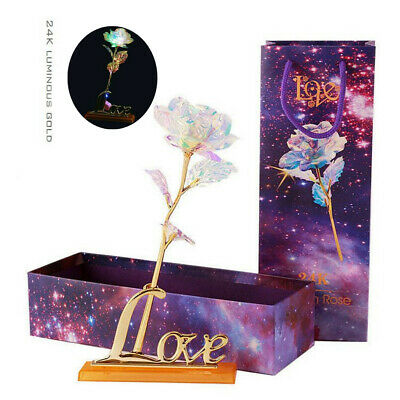 24K Luminous Crystal Galaxy Rose With Love Base Mothers day Anniversary Gift US