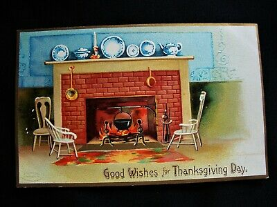 Signed Clapsaddle Chairs by Fireplace Hearth wMantle  Thanksgiving Emb Postcard