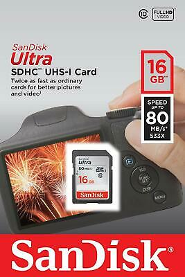 SanDisk Ultra SDHC 16GB 48MBs 320x Camera Flash Memory Card - Full HD Video