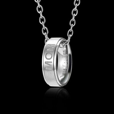 Mothers Day Gift MOM Ring Stainless Steel Necklace Pendant Women Family Jewelry