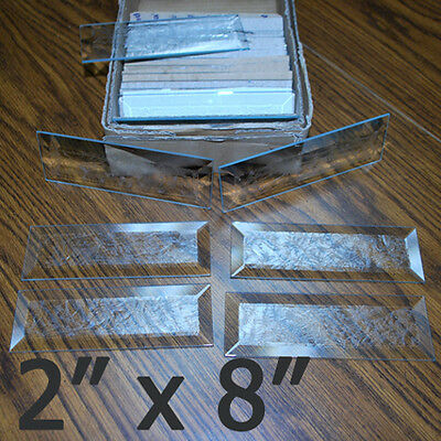 4 pack 2 x 8 Rectangle Bevel GLUE CHIP Etched Glass Bevels