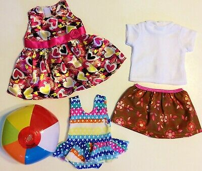 Doll Clothes LOT Fits 18 American Girl 3 Outfits Dress Top Skirt Swimsuit NEW
