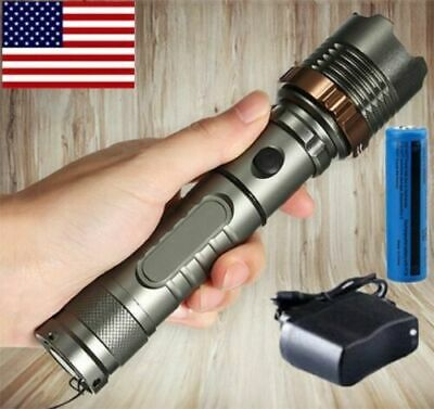Rechargeable 200000LM Camping LED Flashlight T6 Tactical Police Torch-Batt-Char