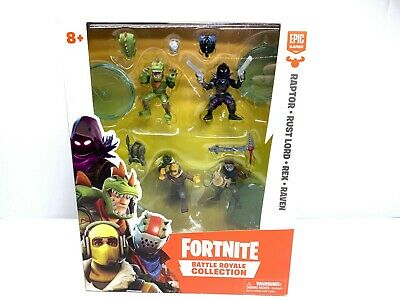 New Fortnite Battle Royale Collection 4 Mini Figures Raptor Rust Lord Rex Raven