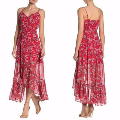 NEW Nanette Lepore RED Floral Stripe BUTTON Front RUFFLE Flounce Maxi DRESS 8