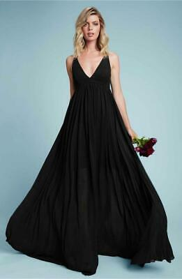 NEW Anthropologie DRESS THE POPULATION Phoebe BLACK Chiffon BRIDESMAID GOWN XS S