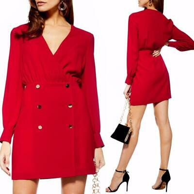 NEW TOPSHOP Red DOUBLE BREASTED LS Button CUFF Blazer Mini DRESS US 8