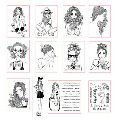 Beauty woman Clear Stamps Stencil DIY Scrapbooking Paper Card Crafts Embossing