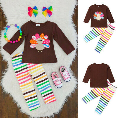 US Toddler Baby Kids Girl Clothes Thanksgiving Tops Pants Outfits Sets Tracksuit