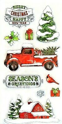 Country Christmas Truck - Barn Clear Acrylic Stamp Set 605742 NEW