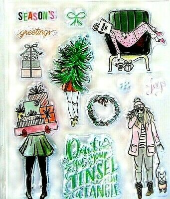 Christmas Shopping Woman Clear Stamp - Die Set by Recollections 605744 NEW