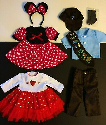 18 Inch Doll Clothes LOT fits American Girl Minnie Mouse Holiday Dress Brownie