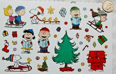 PEANUTS Christmas stickers decorate tree Snoopy gang woodstock doghouse sled