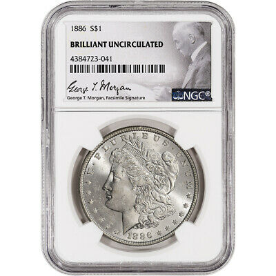1886 US Morgan Silver Dollar 1 - NGC Brilliant Uncirculated