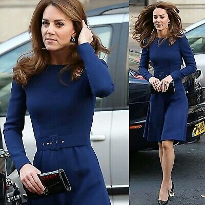 2020 Womens Kate Middleton Inspired Dress A Line Long Sleeve Belted