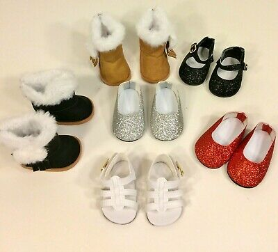 LOT SHOES BOOTS Tan Black Fur Red Silver fits 18 Inch American Girl Doll Clothes