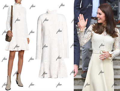 385 SEE BY CHLOE FLUTED POINTELLE MOCK NECK LACE KATE MIDDLETON DRESS 00 0 2 XS