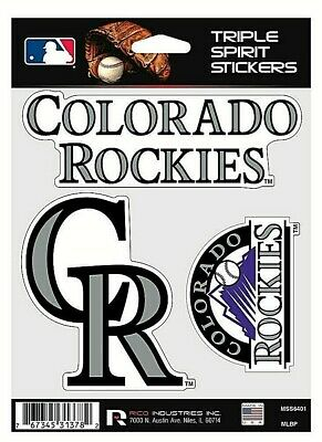 Colorado Rockies MLB Triple Spirit Stickers  Decals  3 Pack Free Shipping