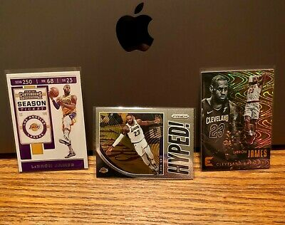 Lebron James x3 Contenders Prizm Hyped - Essentials Spiral Parallel SP Lakers