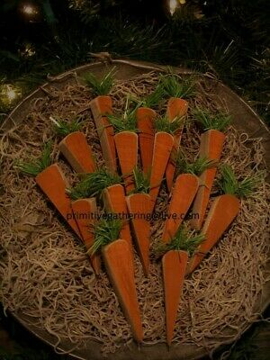 10 Wood Farmhouse Spring Easter CARROTS Primitive Bowl Filler Tucks Ornies