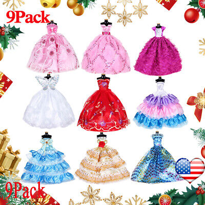9PCS Doll Wedding Party Dress Princess Clothes Handmade Outfit for 12in Dolls-