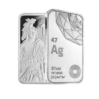 10 oz DGSE 0-999 Silver Bar - Freedom Symbol Stamped