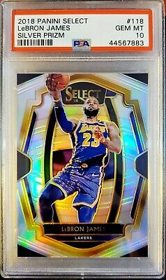 LEBRON JAMES 2018-19 PANINI SELECT 118 SILVER PRIZM SP GEM MINT PSA 10 LAKERS