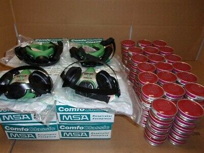 1 Large Size MSA 808061 Comfo Classic Respirator Masks - 4 5186 Cartridges