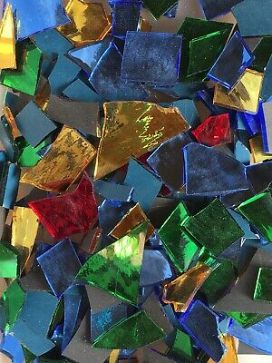 1 Lb MOSAIC STAINED GLASS MIRROR-TILE SPECTRUM HANDCUT MIX COLOR FREE CUT  USA