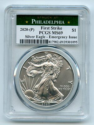 2020 P 1 American Silver Eagle 1oz Emergency Issue PCGS MS69 First Strike
