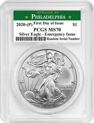2020 P 1 Silver American Eagle PCGS MS70 FDOI Emergency Production