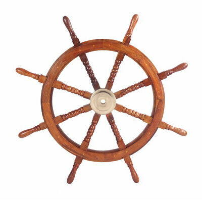 36 Teak Wood Ship Wheel with Brass Inset and Eight Spokes Brown and Gold