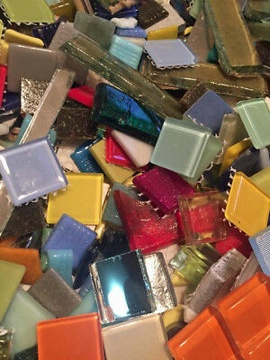 Huge Assorted Lot of Mixed Glass Mosaic Craft Tiles  3-5 Lbs-