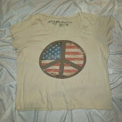 LOL vintage womens top fourth of July peace patriotic tee 3xl some damage