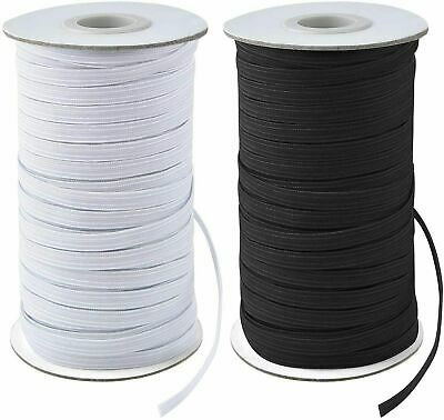 200 Yards Elastic Band 14 6mm Width Sewing Trim String DIY WhiteBlack Braided