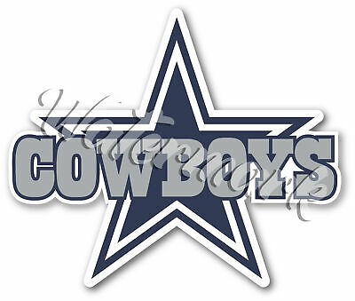 Dallas Cowboys Star With Text Logo  Vinyl Decal  Sticker 10 sizes Tracking