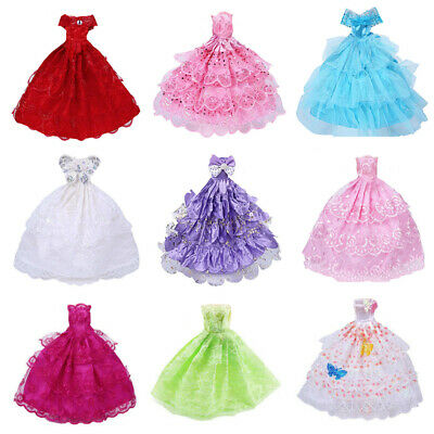 9PCS Handmade Barbie Doll Dress Wedding Party Princess Clothes Outfit for 12in-