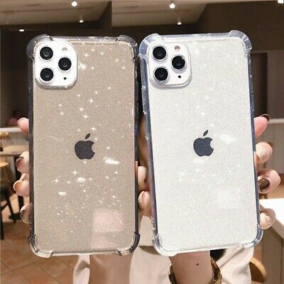 Transparent Phone Case Glitter Bling Shockproof Soft TPU Back Cover For iPhone