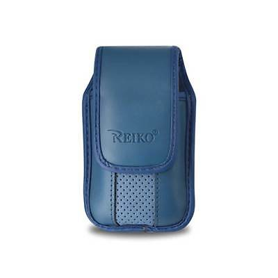 Blue Leather Case Vertical with pinch clip fits Cricket Debut Flip Phone