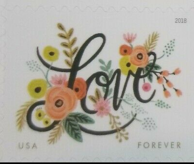 100 Love Flourishes Forever Postage Stamps 5 Sheets of 20 USPS Forever Stamp