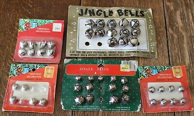 Vintage Lot of 47 Miscellaneous Silver Christmas Jingle Bells 38 to 78