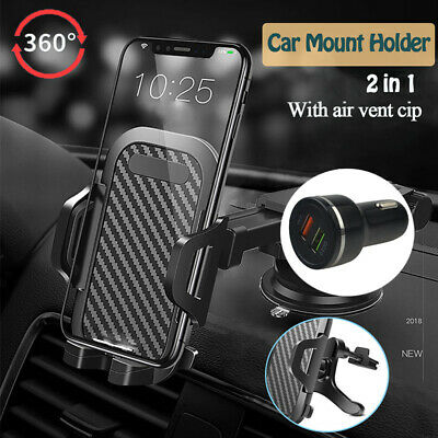 QC3-0 Fast Car Charger - 2in1 Car Phone Mount Holder Stand For Samsung S10 S20-